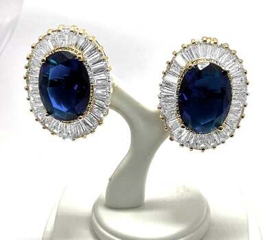 NO RESERVE 54.0ctw Sapphire & 5.50ctw White Diamonique Earrings
