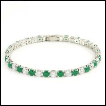 NO RESERVE 6.45ctw Emerald & White Sapphire Tennis Bracelets