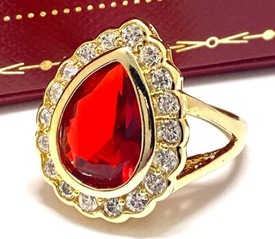 NO RESERVE 7.50ctw Ruby & Diamonique Ring Size 6