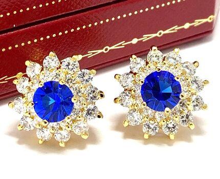 NO RESERVE 7.50ctw Sapphire & Diamonique Earrings