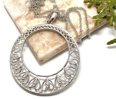 NO RESERVE .925 Sterling Silver, 0.18ct White Diamonique Necklace