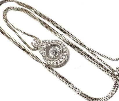 "NO RESERVE .925 Sterling Silver, 0.50ctw White Diamonique ""Dancing Diamond"" Necklace"