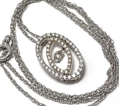 "NO RESERVE .925 Sterling Silver 0.75ctw Diamonique ""Dancing Diamond"" Design Necklace"