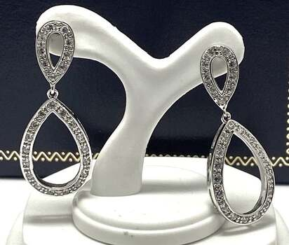 NO RESERVE .925 Sterling Silver, 1.00ct White Diamonique Earrings