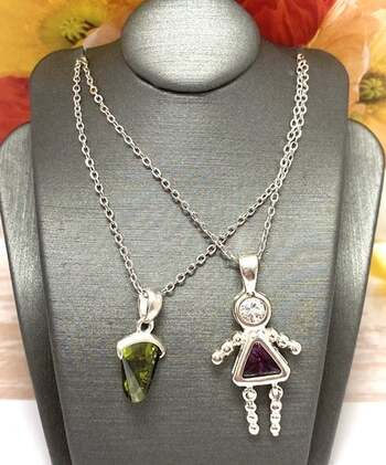 NO RESERVE .925 Sterling Silver, 1.25ct Amethyst & 3.25ct Peridot & 0.25ct White Diamonique Lot of 2 Necklaces