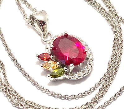 NO RESERVE  .925 Sterling Silver, 1.64ctw Ruby, 0.04ctw Peridot & 0.04ctw Citrine Necklace
