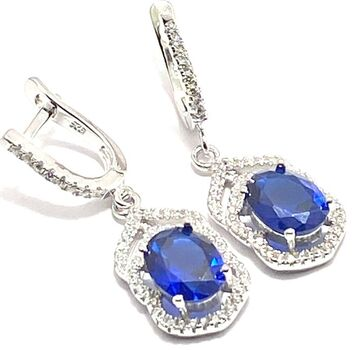 NO RESERVE  .925 Sterling Silver, 3.00ctw White Topaz & Sapphire Earrings