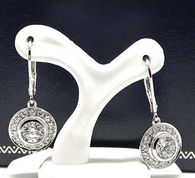 NO RESERVE .925 Sterling Silver, 4.75ct White Diamonique Earrings