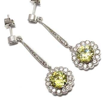 NO RESERVE  .925 Sterling Silver, 7.50ctw Peridot & 0.25ctw White Diamoniqiue Earrings