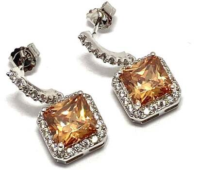 NO RESERVE  .925 Sterling Silver, 8.0ctw Champagne Topaz & 0.25ctw White Diamoniqiue Earrings