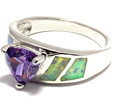 NO RESERVE  .925 Sterling Silver Amethyst & Opal Ring Size 7