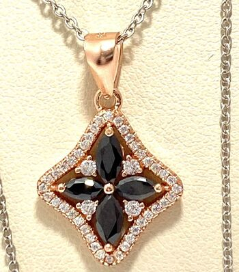NO RESERVE .925 Sterling Silver with Rose Gold Overlay Black & White Sapphire Necklace