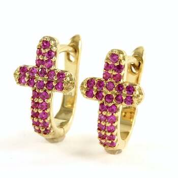 NO RESERVE  .925 Sterling Silver with Yellow Gold Overlay, 1.75ctw Ruby Cross Earrings