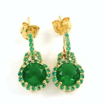 NO RESERVE  .925 Sterling Silver & Yellow Gold, 4.50ctw Emerald Earrings