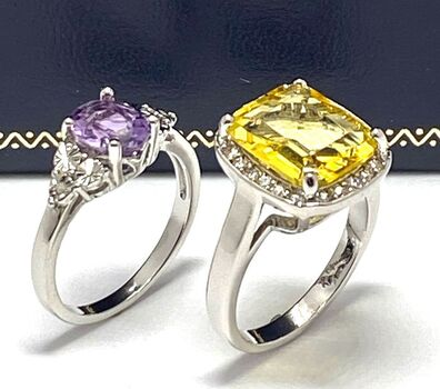 NO RESERVE 9.50ctw Citrine, Amethyst & Diamonique Lot of 2 Rings Size 8