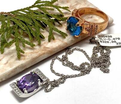 NO RESERVE Antique Design 10.50ct Amethyst & 11.25ct Blue Topaz Lot of Ring & Necklace