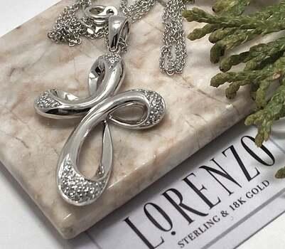 NO RESERVE Authentic Lorenzo .925 Sterling Silver, 0.25ct White Diamonique Necklace