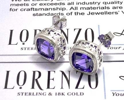NO RESERVE Authentic Lorenzo .925 Sterling Silver 11.0ctw Amethyst Stud Earrings