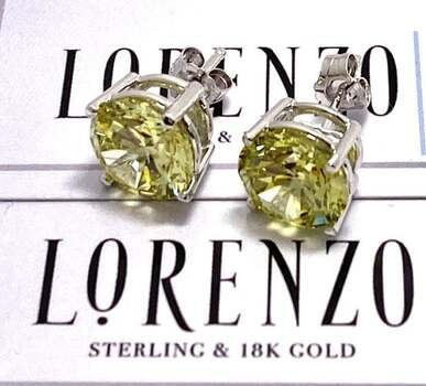 NO RESERVE Authentic Lorenzo .925 Sterling Silver 12.0ctw Peridot Stud Earrings