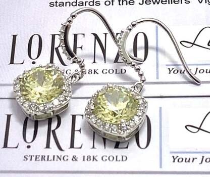 NO RESERVE Authentic Lorenzo .925 Sterling Silver, 12.15ctw Peridot & White Topaz Earrings