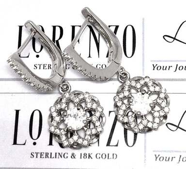 NO RESERVE Authentic Lorenzo .925 Sterling Silver, 1.25ctw White Topaz Earrings