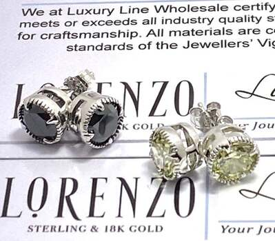 NO RESERVE Authentic Lorenzo .925 Sterling Silver 5.0ctw Black Spinel & 5.0ctw Canary Topaz Lot of 2 Pair of Earrings