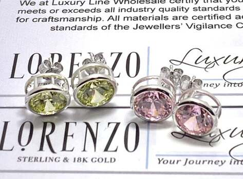 NO RESERVE Authentic Lorenzo .925 Sterling Silver 7.0ctw Pink Topaz & 7.0ctw Peridot Lot of 2 Pair of Earrings