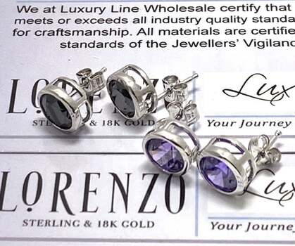 NO RESERVE Authentic Lorenzo .925 Sterling Silver, 9.0ctw Amethyst & 9.0ctw Black Spinel Lot of 2 Pair of Earrings