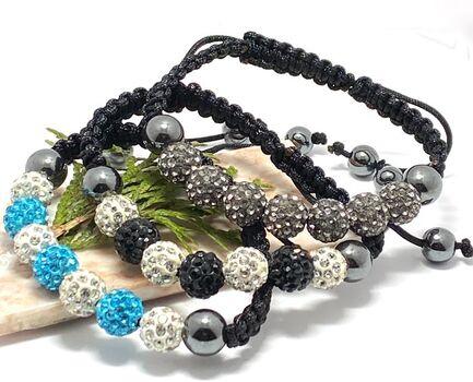 NO RESERVE Black , Blue & White Swarovski Elements Hematite Shambhala Adjustable Shambhala Lot of 3 Bracelets