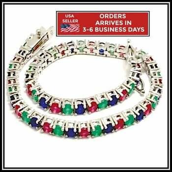 NO RESERVE Emerald, Sapphire & Ruby Tennis Bracelet