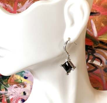 NO RESERVE  Lorenzo .925 Sterling Silver, 12.0ctw Black Spinel & 0.05ctw White Topaz Earrings