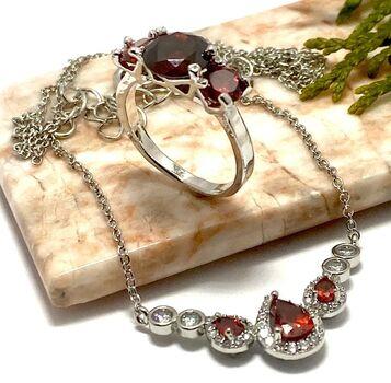 NO RESERVE Lot of 0.79ctw Garnet & (AAA Grade) CZ's Necklace & 2.80ctw Garnet Ring Size 6