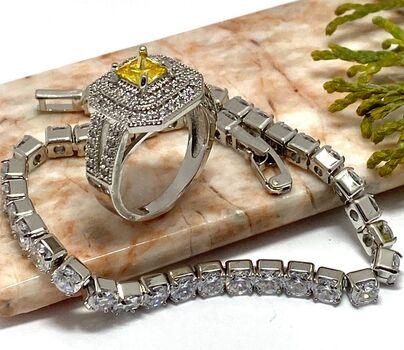 NO RESERVE Lot of 0.85ctw Citrine & White Sapphire Ring Size 6 & 11.40ctw White Topaz Tennis Bracelet