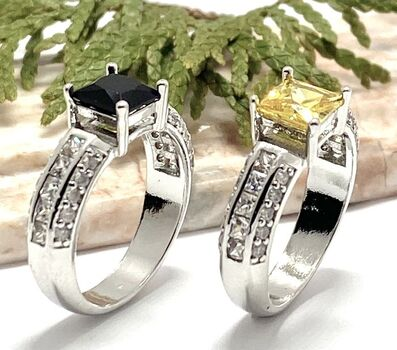 NO RESERVE Lot of 1.05ctw Black & White Sapphire Ring Size 8 & 1.25ctw Yellow & White Topaz Ring Size 8