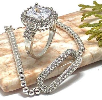 NO RESERVE Lot of 1.10ctw White Sapphire Bracelet & 6.00ctw White Sapphire Ring Size 7