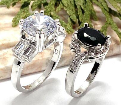 NO RESERVE Lot of 1.23ctw Black & White Sapphire Ring size 7 & 5.20ctw White Sapphire Ring Size 6