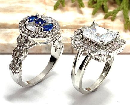 NO RESERVE Lot of 1.25ctw Blue & White Sapphire Ring Size 8 & 5.00ctw White Sapphire Ring Size 7