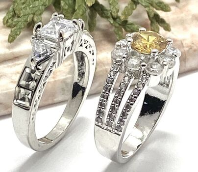 NO RESERVE Lot of 1.44ctw Yellow & White Topaz Ring size 6 3/4 & 2.60ctw AAA+ Grade White Cubic Zirconia Ring Size 7