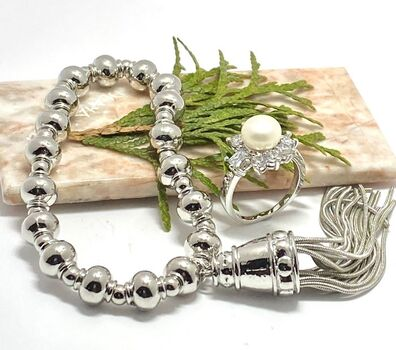 NO RESERVE Lot of 1.75ctw Fresh Water Pearl & White Sapphire Ring Size 6.5 & Bead Stretch Bracelet with a Tassel