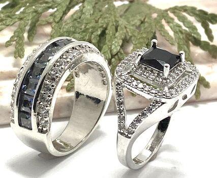 NO RESERVE Lot of 1.78ctw Onyx Ring Size 8 & 3.55ctw  Mystics Topaz & White Sapphire Ring Size 7