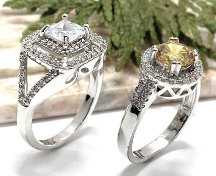 NO RESERVE Lot of 1.78ctw White Sapphire Ring Size 7 & 1.25ctw Citrine and White Sapphire Ring Size 7