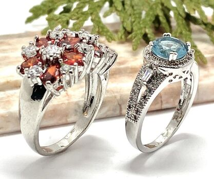 NO RESERVE Lot of 1.90ctw Blue & White Cubic Zirconia Ring Size 7 & 5.00ctw Garnet & White Sapphire Ring Size 7