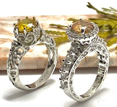 NO RESERVE Lot of 1.90ctw Yellow & White Topaz Ring Size 7 & 1.70ctw Yellow & White Topaz Ring Size 7
