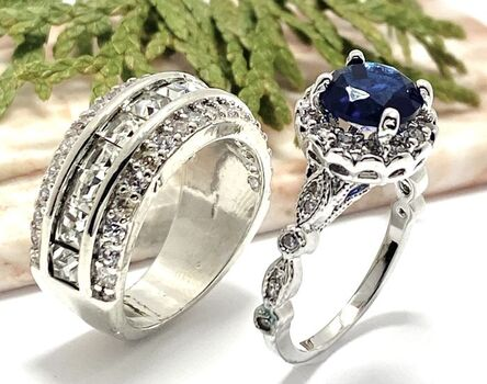NO RESERVE Lot of 2.10ctw Blue & White Sapphire Ring Size 7 & 3.55ctw White Sapphire Ring Size 7