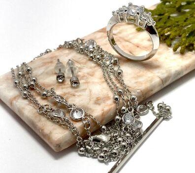 NO RESERVE Lot of 2.15ctw Cubic Zirconia Engagement Ring Size 6 & 1.00ctw Cubic Zirconia Set of Necklace & Earrings