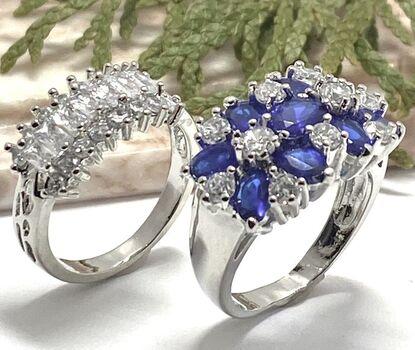 NO RESERVE Lot of 2.50ctw Blue & White Italian CZ's (AAA Grade) Ring sz 6.5 & 1.76ctw White Sapphire Ring Size 8