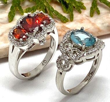 NO RESERVE Lot of 2.50ctw Garnet & White Sapphire Ring Size 7 & 2.22ctw Sky Blue Topaz and White Sapphire Ring Size 8