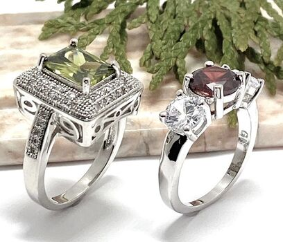 NO RESERVE Lot of 3.00ctw Garnet & Cubic Zirconia Ring size 6 3/4 & 1.60ctw Peridot & White Sapphire Ring Size 7