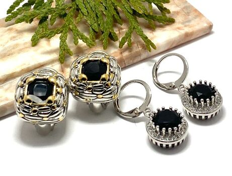 NO RESERVE Lot of 3.95ctw Black & White Sapphire Earrings & Black Onyx Two-tone Earrings