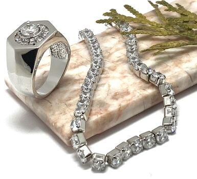 NO RESERVE Lot of 4.25ctw White Sapphire Bracelet & 1.47ctw White Sapphire Ring Size 7